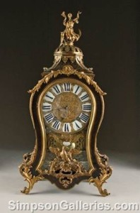 French Mantel Clock - Gilt Brass & Tortoiseshell Boulle Marquerty - Louis XV Style